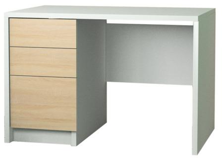Biurko komputerowe, białe, front sonoma 100 cm , 2 szuflady i drzwiczki