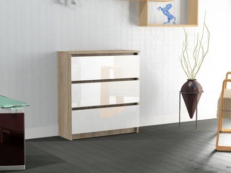 Komoda Rico 3 szuflady sonoma/biel z połyskiem 80cm