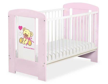 Łóżeczko Miś z kokardką 120x60cm Różowe 5004-08-324