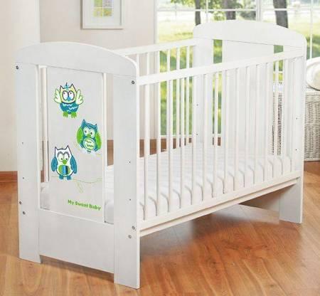 Łóżeczko Sowy 120x60cm Biało-zielone 5017-07-428