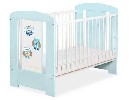 Łóżeczko Sowy 120x60cm Zielono-niebieskie 5017-02-426