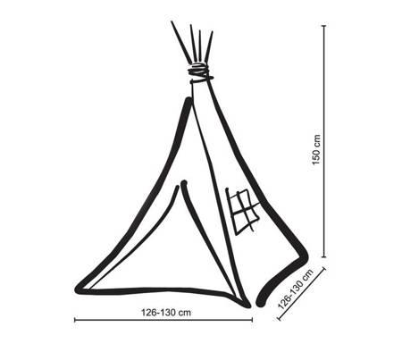 Namiot Tipi Białe grochy na szarym + zawieszki pióra