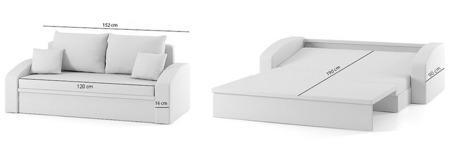 Sofa Hewlet 1 rozkładana sofa z funkcją spania kolor czarno-biały, 2 osobowa
