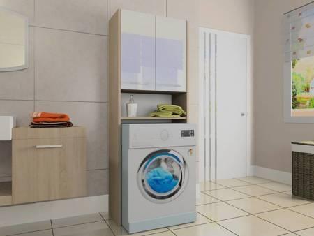 Szafka łazienkowa nad pralkę LUNA 64 cm Sonoma z białymi drzwiami Połysk