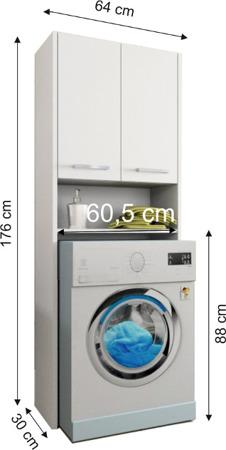Szafka łazienkowa, wnękowa nad pralkę, kolor biały, Luna 64 cm